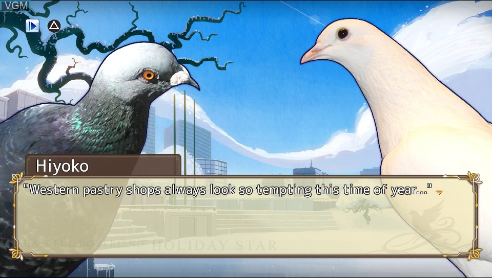 In-game screen of the game Hatoful Boyfriend - Holiday Star on Sony PS Vita