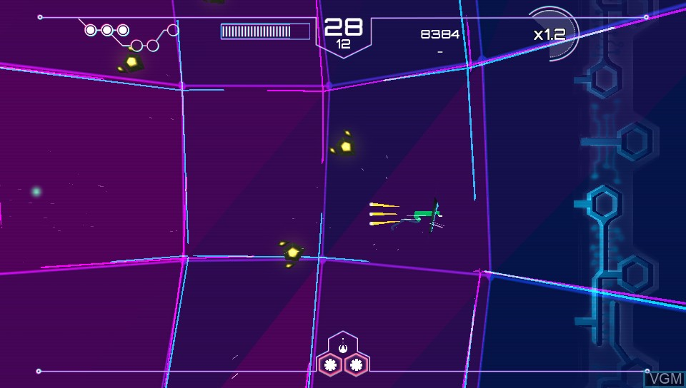 In-game screen of the game Tachyon Project on Sony PS Vita