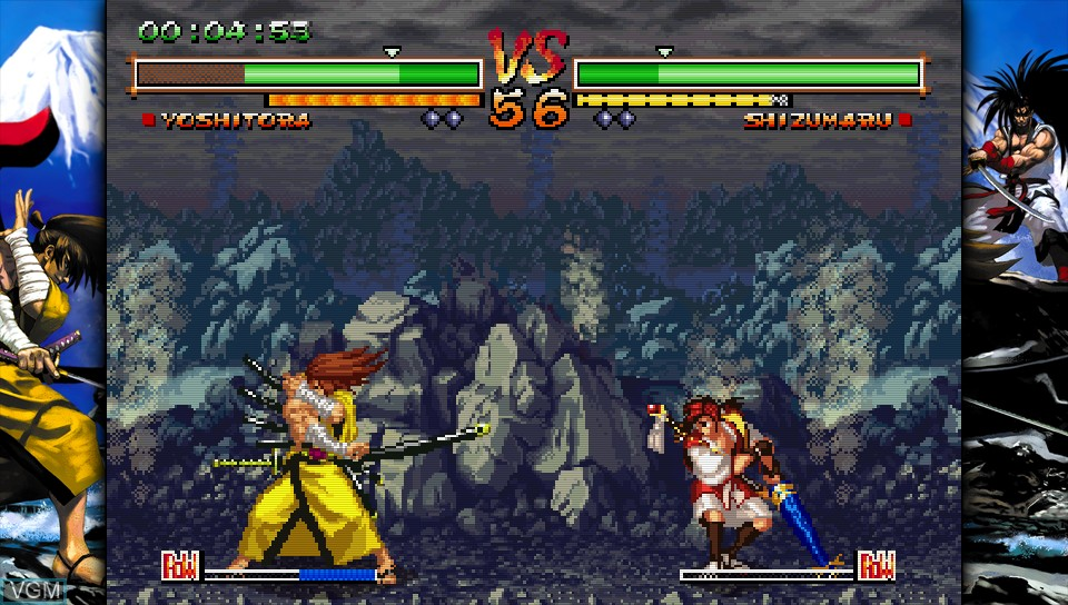 In-game screen of the game Samurai Shodown V Special on Sony PS Vita