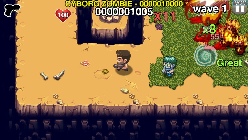 In-game screen of the game Age of Zombies on Sony PS Vita