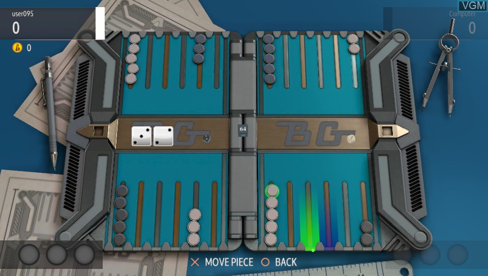 In-game screen of the game Backgammon Blitz on Sony PS Vita