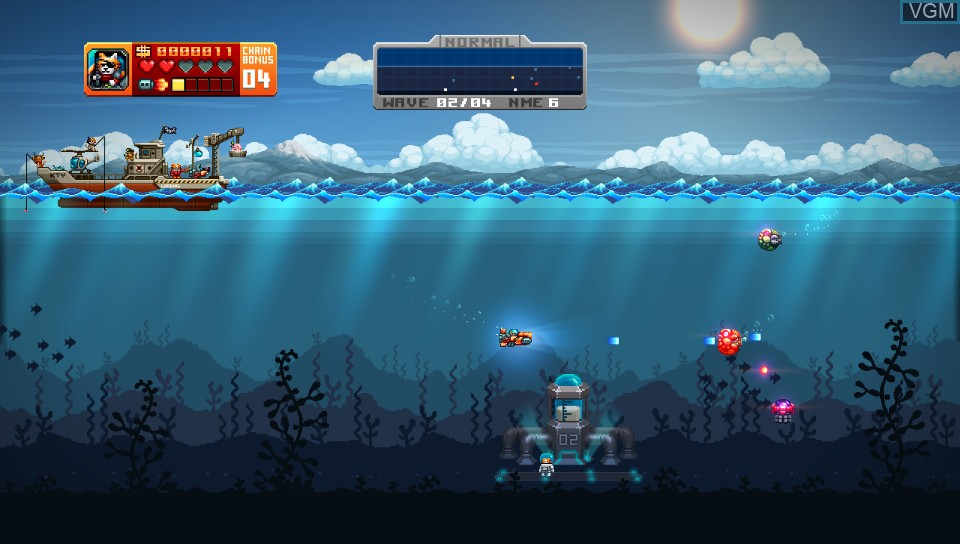 In-game screen of the game Aqua Kitty - Milk Mine Defender DX on Sony PS Vita