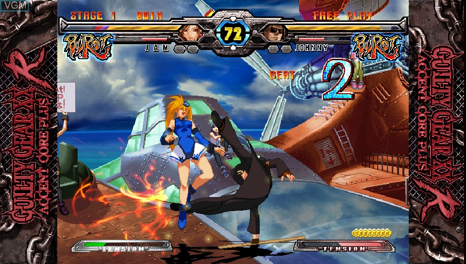 In-game screen of the game Guilty Gear XX Accent Core Plus R on Sony PS Vita