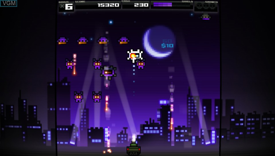 In-game screen of the game Titan Attacks! on Sony PS Vita