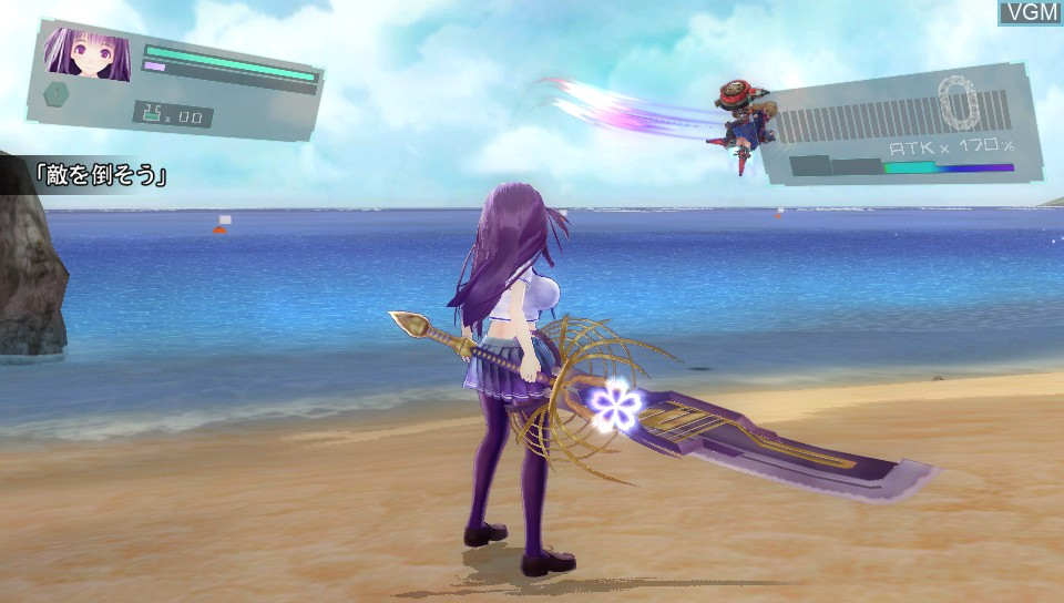 In-game screen of the game Valkyrie Drive - Bhikkhuni on Sony PS Vita