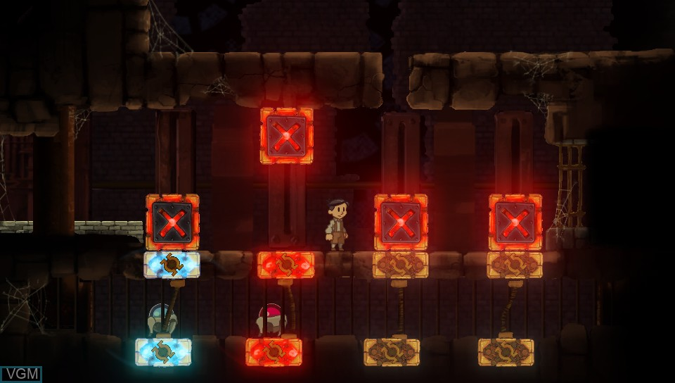 In-game screen of the game Teslagrad on Sony PS Vita
