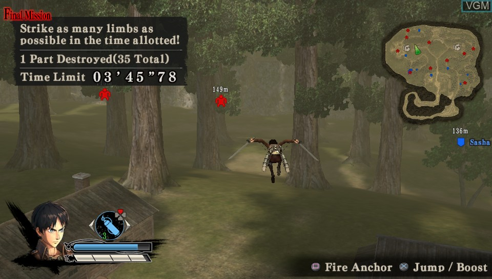 In-game screen of the game A.O.T. Wings of Freedom on Sony PS Vita