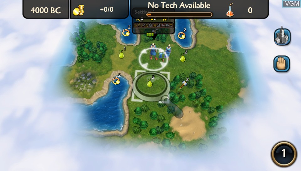 In-game screen of the game Sid Meier's Civilization Revolution 2+ on Sony PS Vita