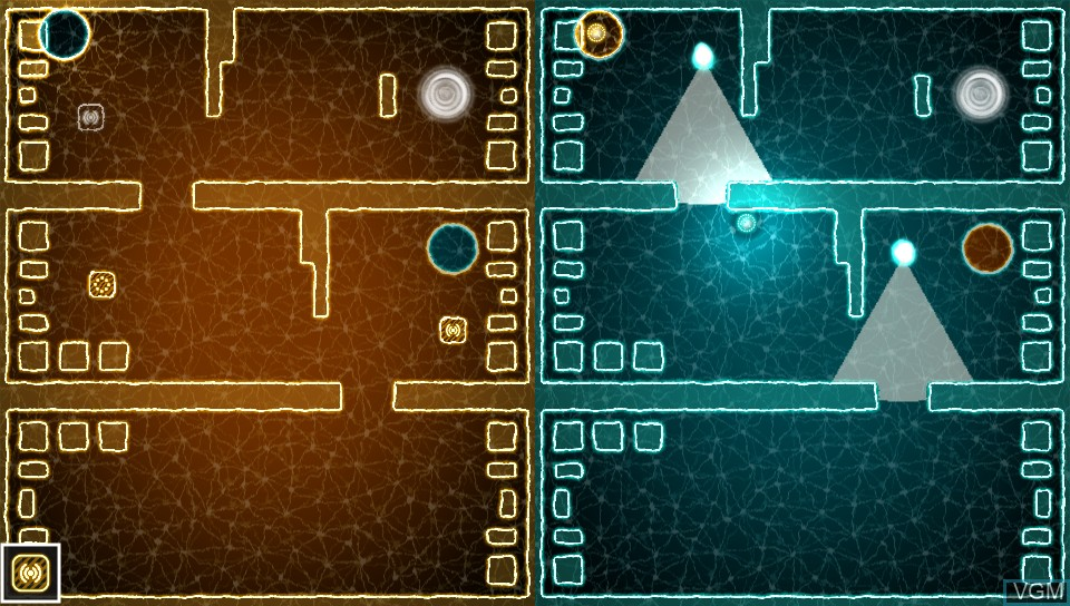 In-game screen of the game Semispheres on Sony PS Vita