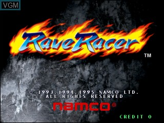 Title screen of the game Rave Racer on Vivanonno