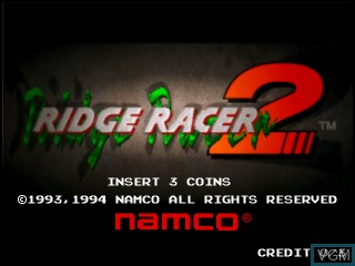 Title screen of the game Ridge Racer 2 on Vivanonno