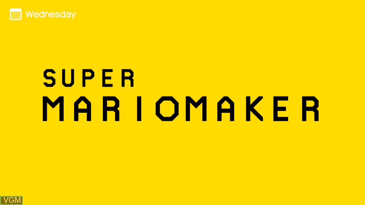 Title screen of the game Super Mario Maker on Nintendo Wii U
