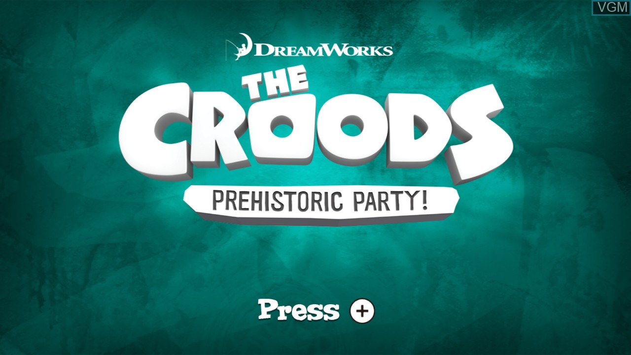 Title screen of the game Croods, The - Prehistoric Party! on Nintendo Wii U
