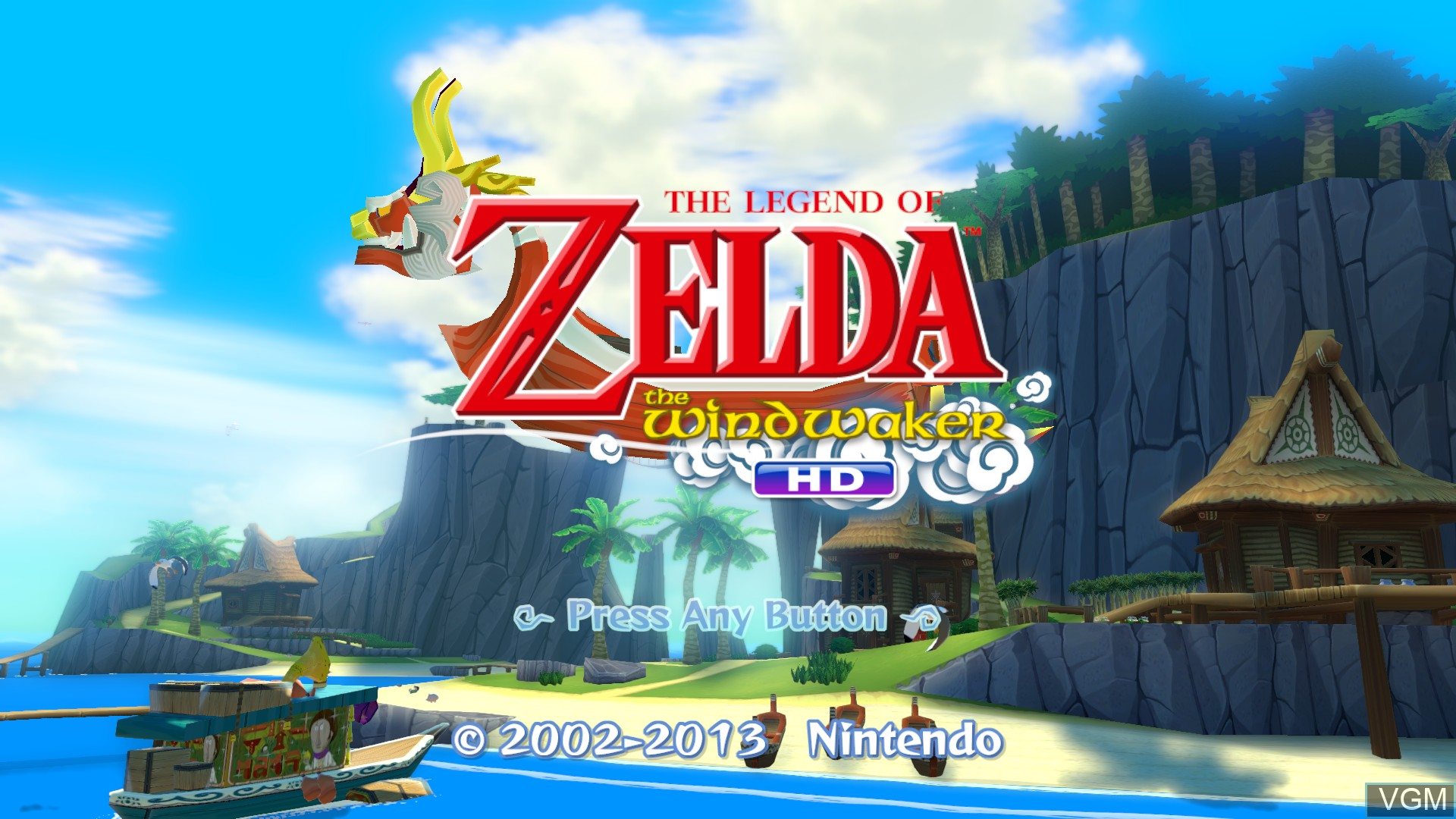 Title screen of the game Legend of Zelda, The - The Wind Waker HD on Nintendo Wii U