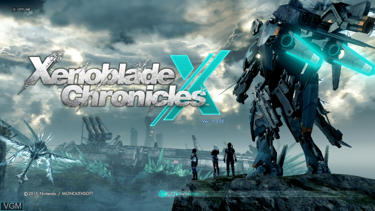 Title screen of the game Xenoblade Chronicles X on Nintendo Wii U