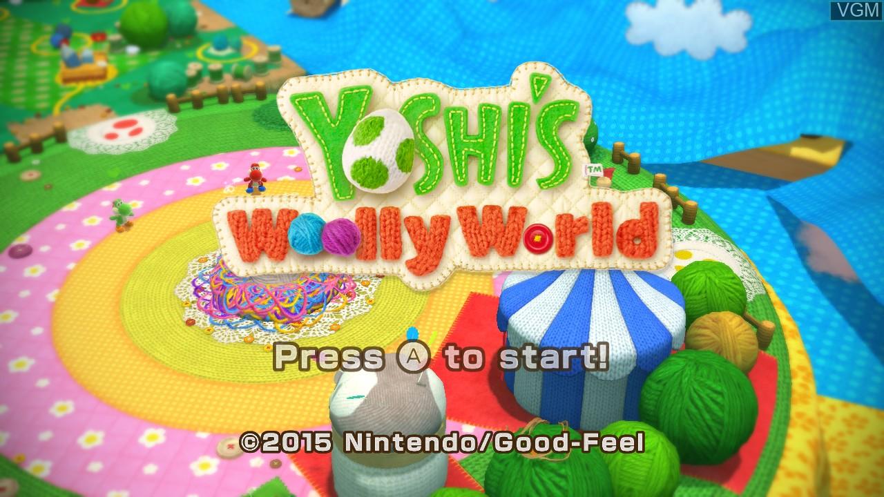 Title screen of the game Yoshi's Woolly World on Nintendo Wii U