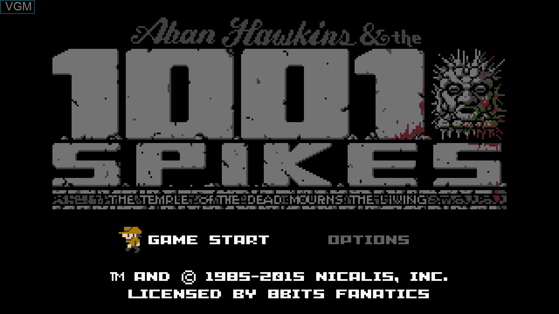 Title screen of the game 1001 Spikes on Nintendo Wii U