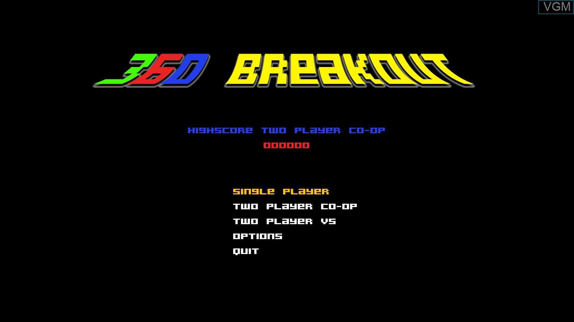 Title screen of the game 360 Breakout on Nintendo Wii U