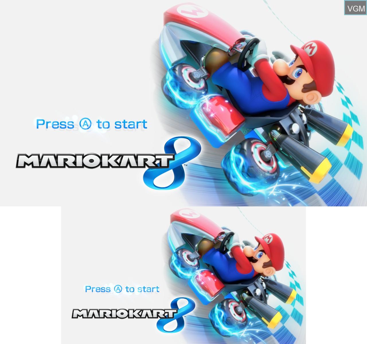 Title screen of the game Mario Kart 8 on Nintendo Wii U