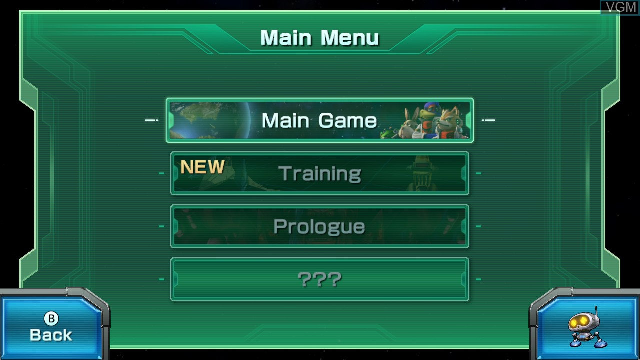 Menu screen of the game Star Fox Zero on Nintendo Wii U