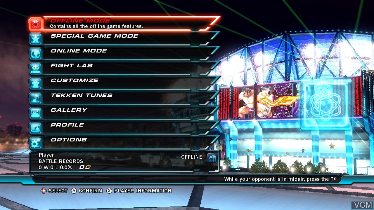 Menu screen of the game Tekken Tag Tournament 2 - Wii U Edition on Nintendo Wii U