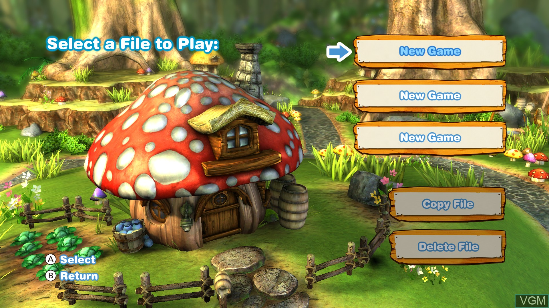 Menu screen of the game Smurfs 2, The on Nintendo Wii U