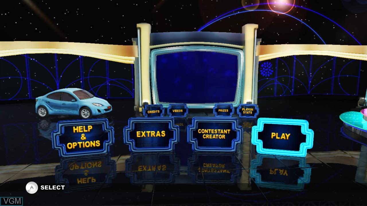 Menu screen of the game Wheel of Fortune on Nintendo Wii U