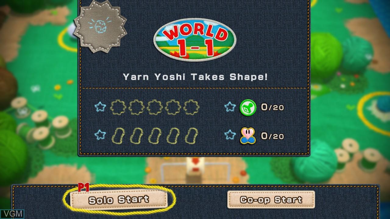 Menu screen of the game Yoshi's Woolly World on Nintendo Wii U