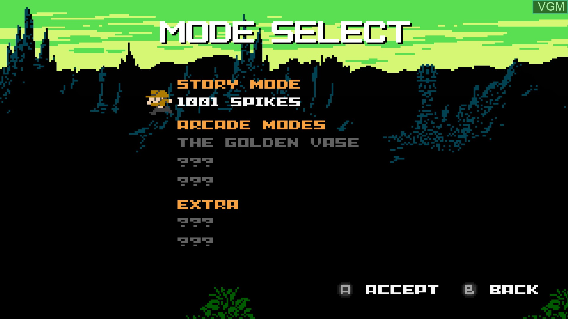 Menu screen of the game 1001 Spikes on Nintendo Wii U