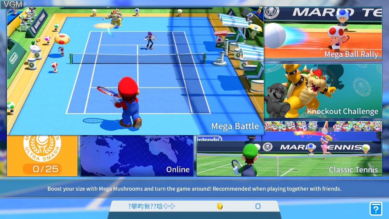 Menu screen of the game Mario Tennis - Ultra Smash on Nintendo Wii U