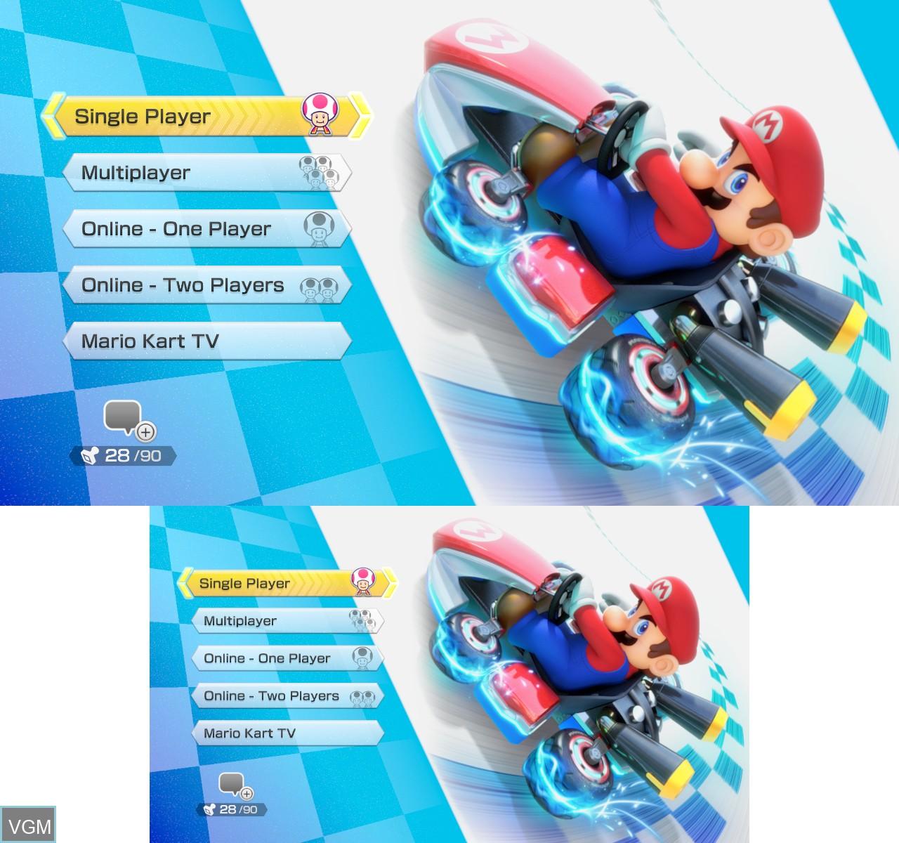 Menu screen of the game Mario Kart 8 on Nintendo Wii U