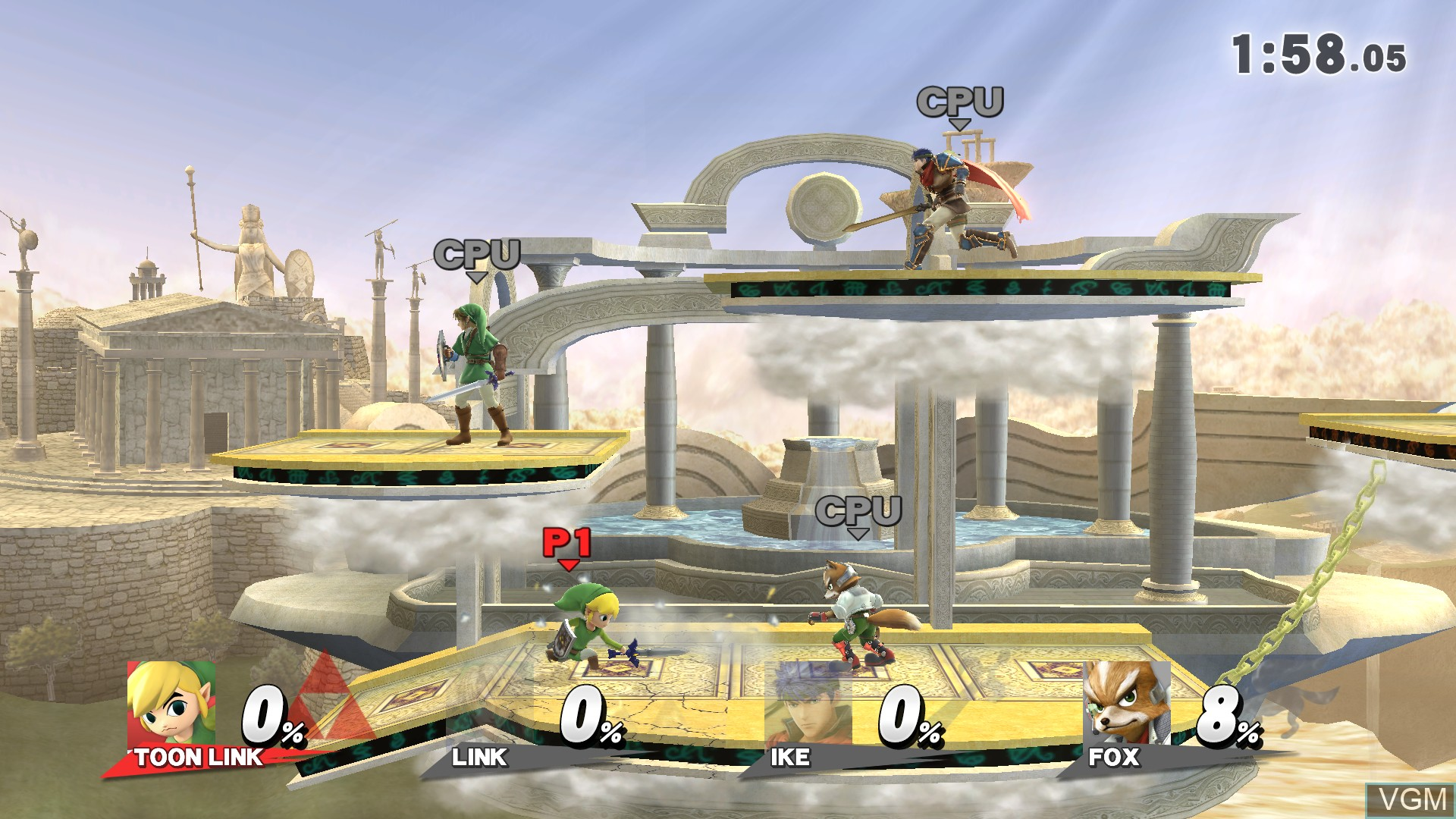 In-game screen of the game Super Smash Bros. for Wii U on Nintendo Wii U
