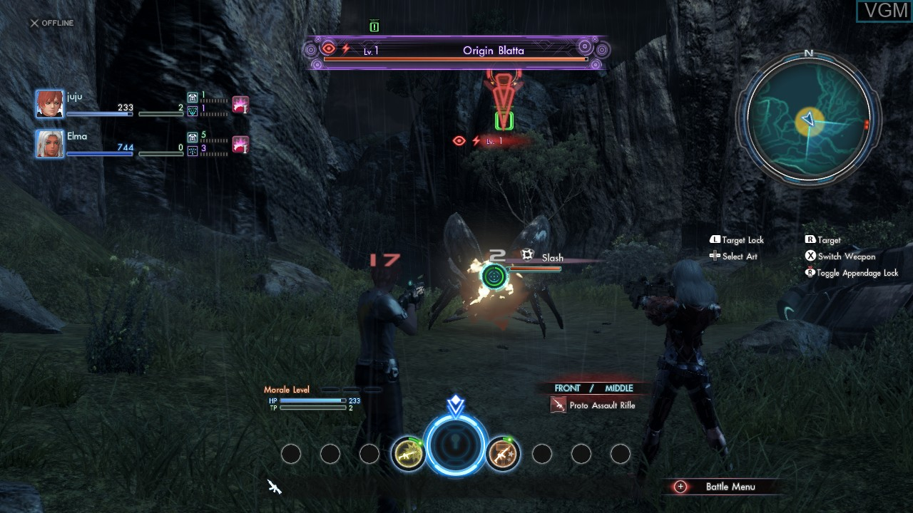 In-game screen of the game Xenoblade Chronicles X on Nintendo Wii U