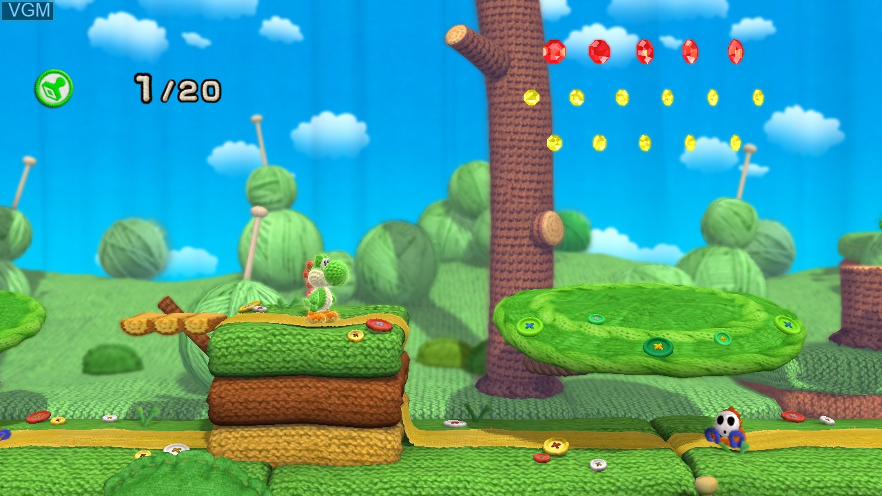 In-game screen of the game Yoshi's Woolly World on Nintendo Wii U