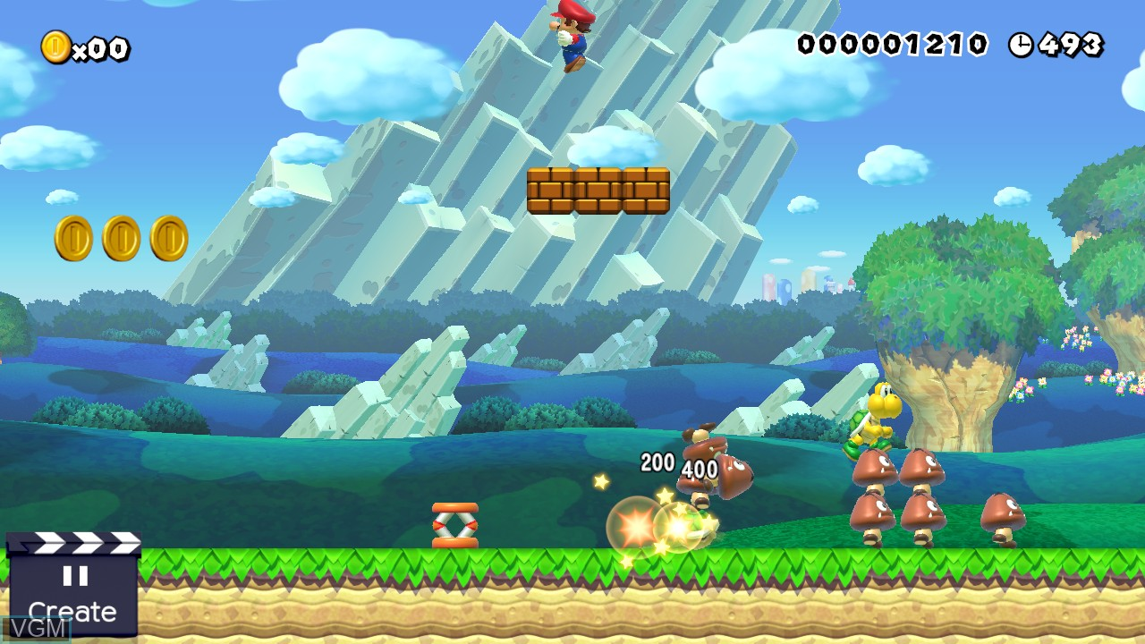 In-game screen of the game Super Mario Maker on Nintendo Wii U