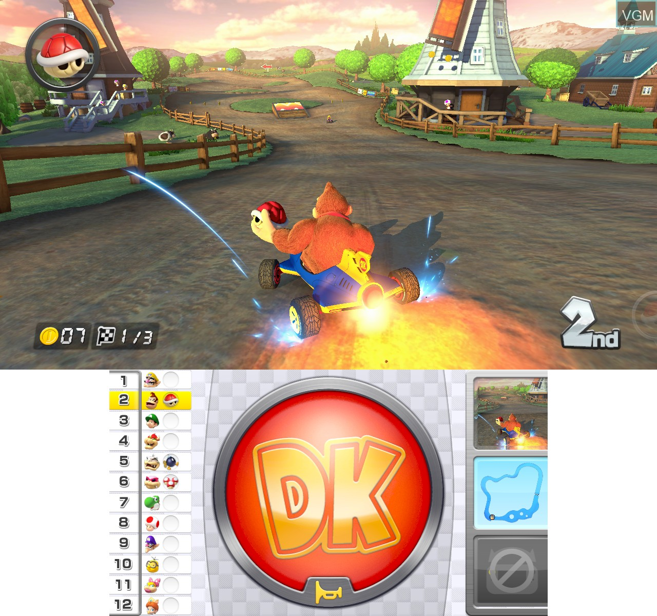 In-game screen of the game Mario Kart 8 on Nintendo Wii U