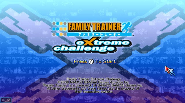 Title screen of the game Family Trainer - Extreme Challenge on Nintendo Wii