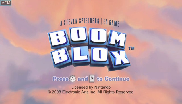 Title screen of the game Boom Blox on Nintendo Wii