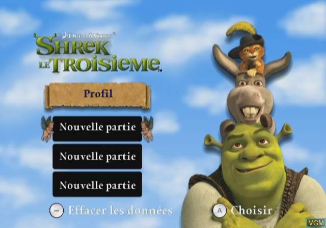 Title screen of the game Shrek the Third on Nintendo Wii