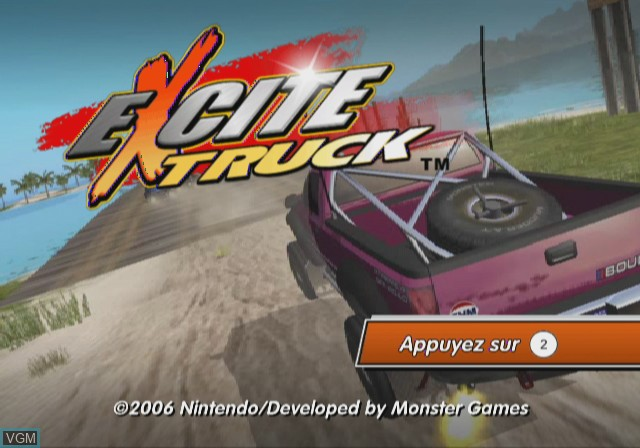 Title screen of the game Excite Truck on Nintendo Wii