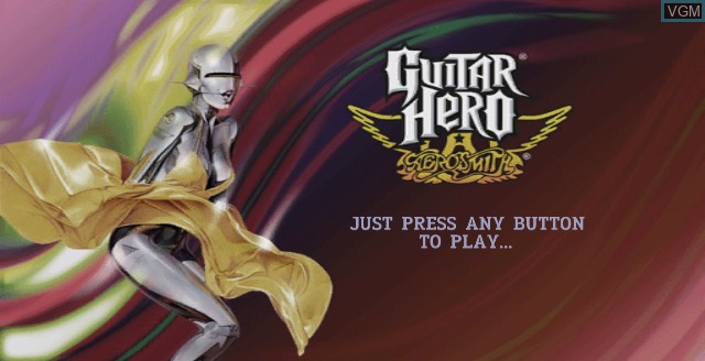 Title screen of the game Guitar Hero - Aerosmith on Nintendo Wii