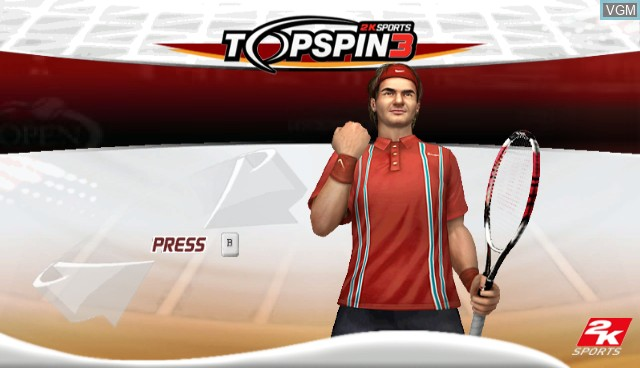 Title screen of the game Top Spin 3 on Nintendo Wii