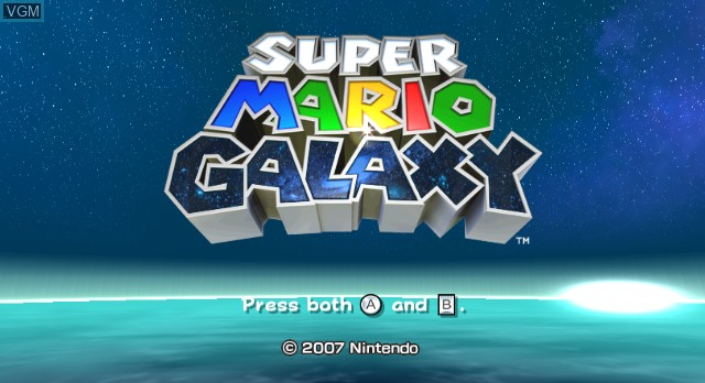 Title screen of the game Super Mario Galaxy on Nintendo Wii