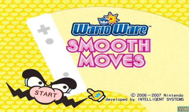 Title screen of the game WarioWare - Smooth Moves on Nintendo Wii