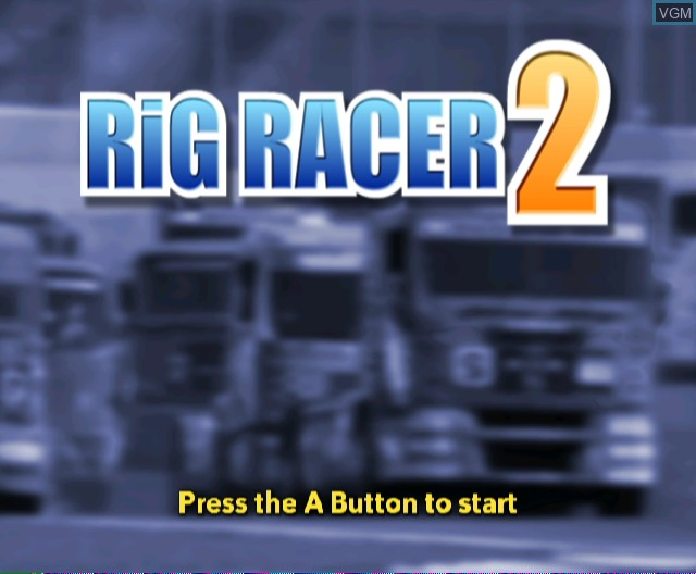 Title screen of the game Rig Racer 2 on Nintendo Wii
