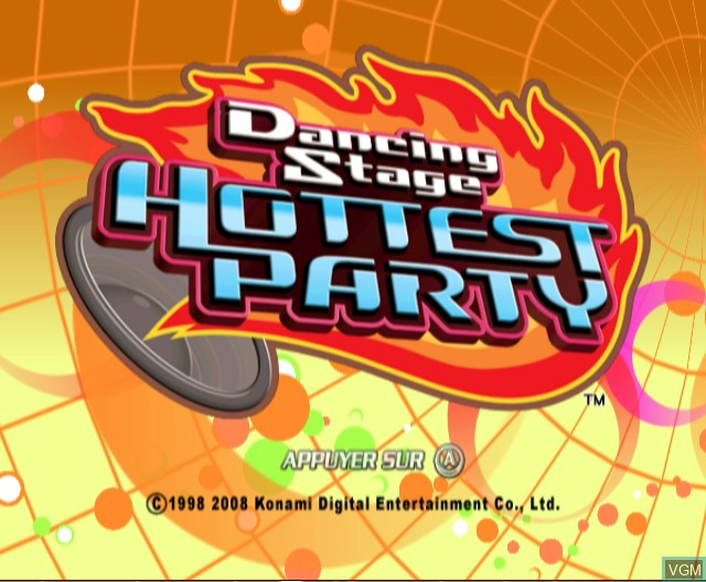 Title screen of the game Dancing Stage - Hottest Party on Nintendo Wii