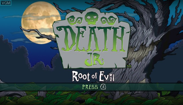 Title screen of the game Death Jr. - Root of Evil on Nintendo Wii