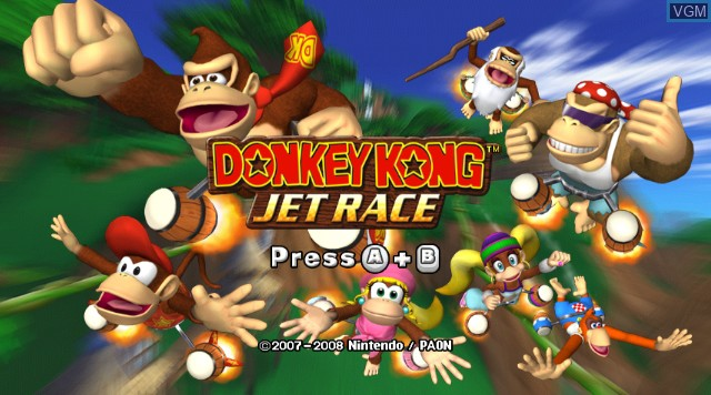 Title screen of the game Donkey Kong Jet Race on Nintendo Wii