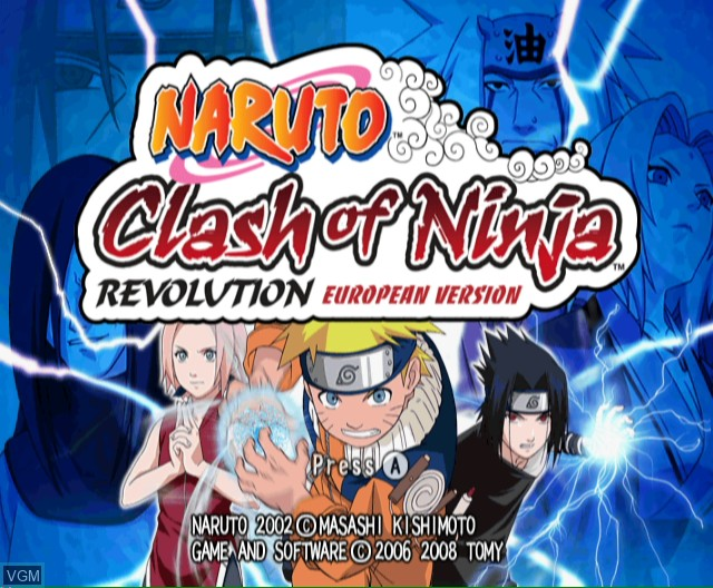 Title screen of the game Naruto - Clash of Ninja Revolution on Nintendo Wii