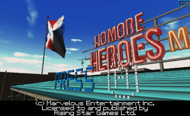 Title screen of the game No More Heroes on Nintendo Wii